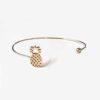 Bracelet ananas jonc plaqué or