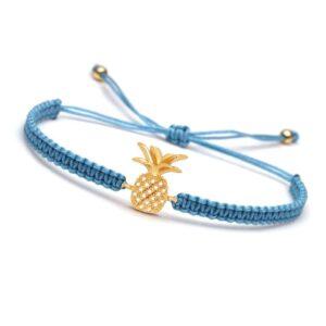 Bracelet ananas macramé bleu