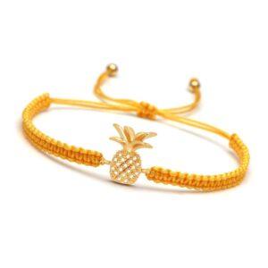 Bracelet ananas macramé jaune et or