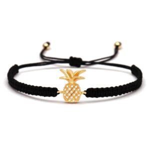 Bracelet ananas macramé noir et or