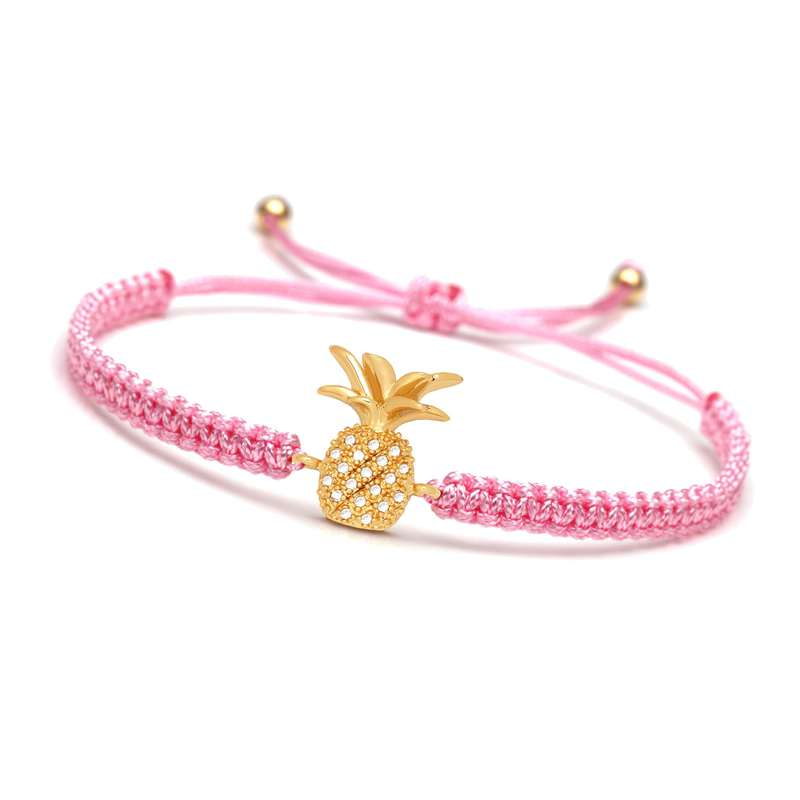bracelet ananas macramé rose or