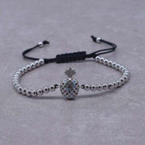 Bracelet Ananas <br>Perles de Fruits – Couleur Argent
