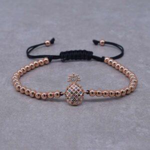 Bracelet Ananas <br>Perles de Fruits – Couleur Or Rose