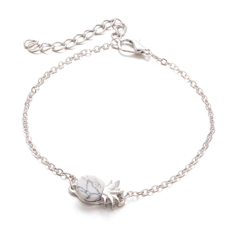 bracelet ananas en argent avec pierre en marbre blanc