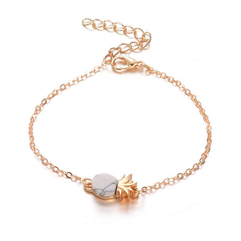 bracelet ananas en or avec pierre en marbre noir