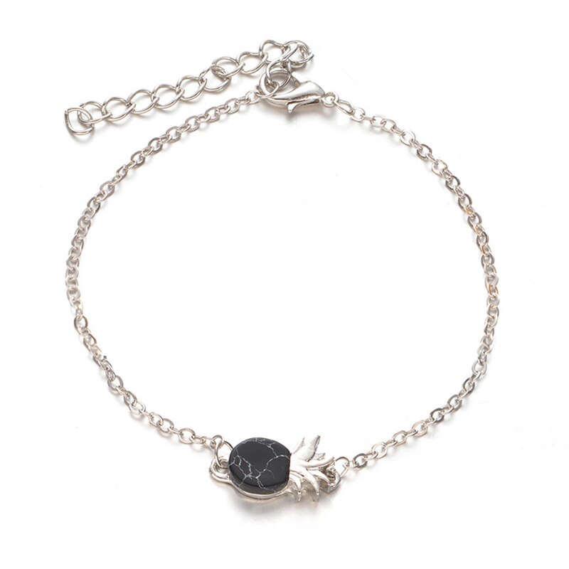 bracelet ananas en argent avec pierre en marbre noir
