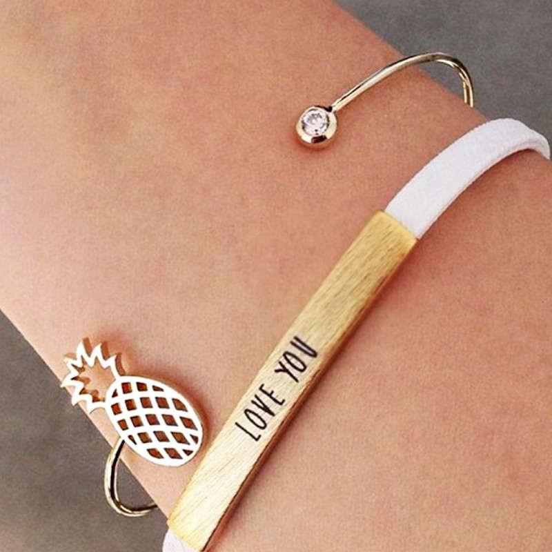 Bracelet ananas en or de type jonc