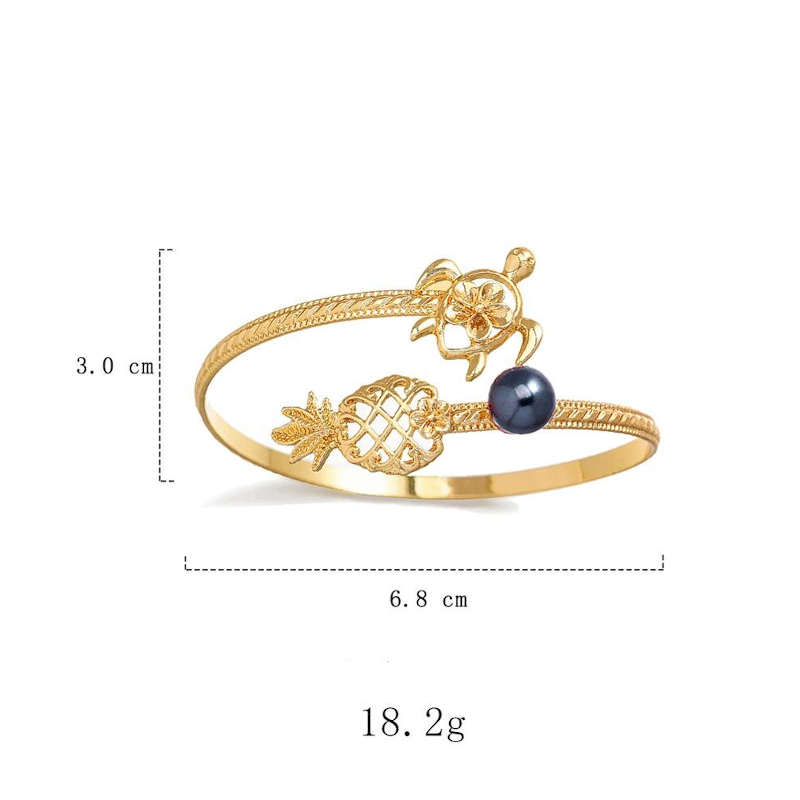 bracelet ananas tortue cuff doré dimensions