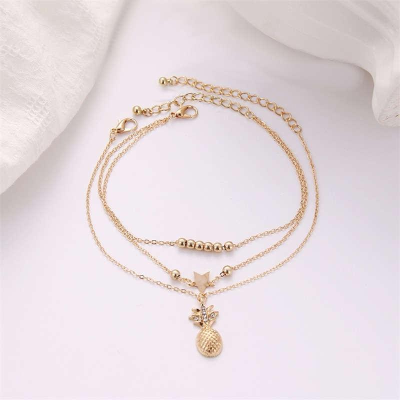 bracelet de cheville ananas doré avec pendentif étoile et perles