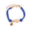 bracelet d'amitié ananas en cuir bleu et or bf