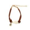 bracelet d'amitié ananas en cuir marron et or bf