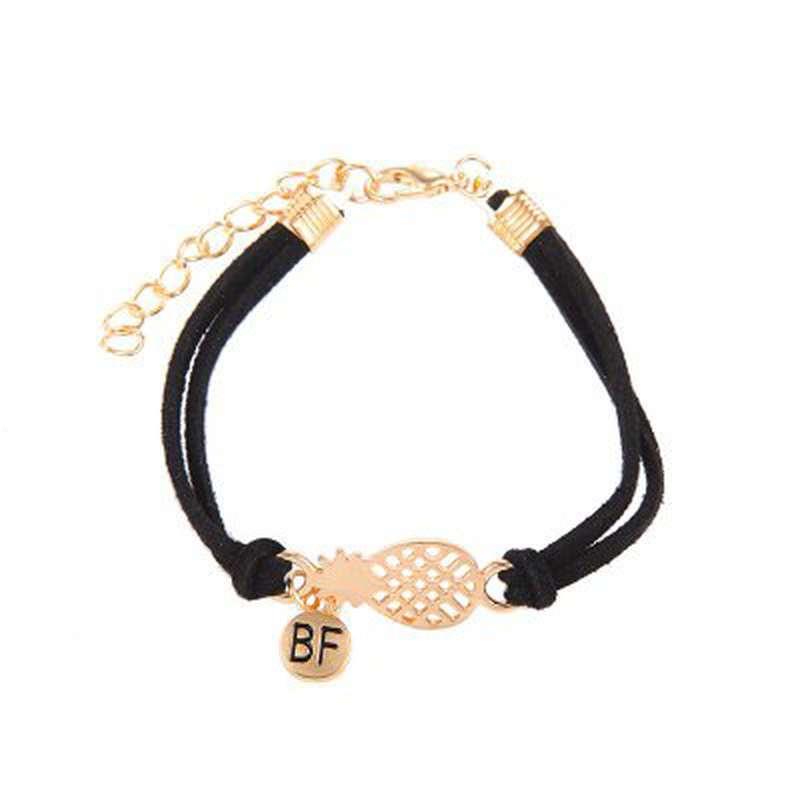 bracelet d'amitié ananas en cuir noir et or bf