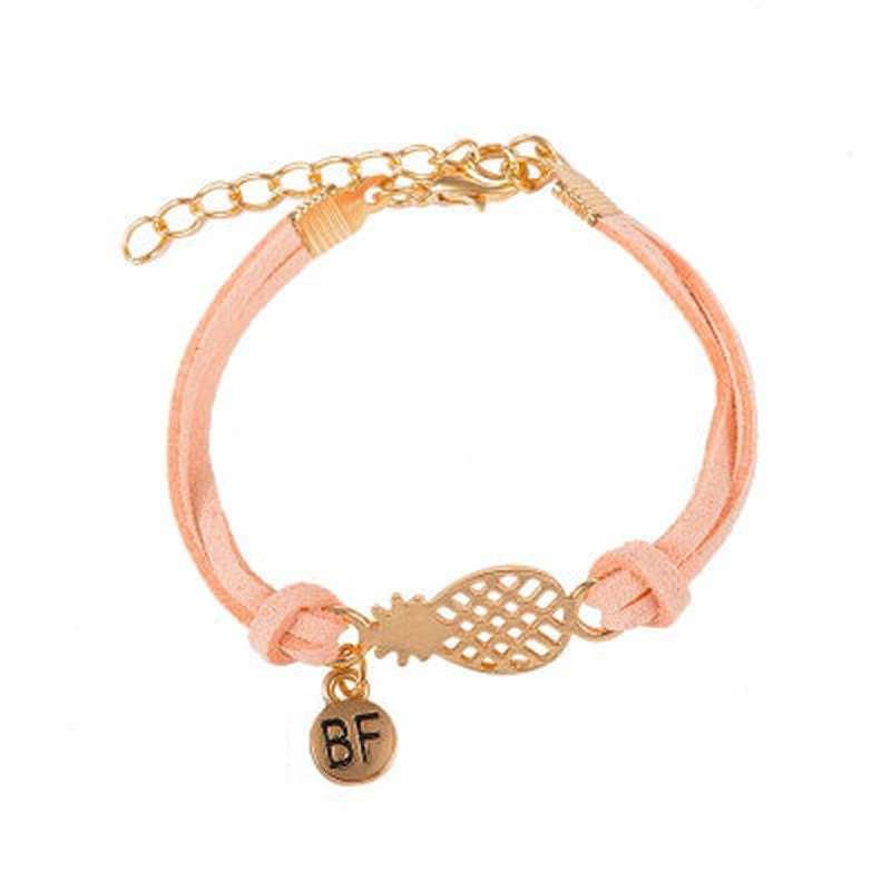 bracelet d'amitié ananas en cuir rose saumon et or bf