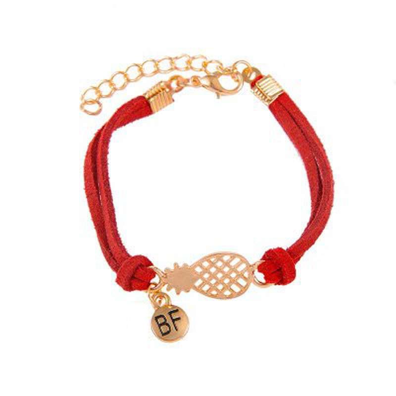 bracelet d'amitié ananas en cuir rouge et or bf