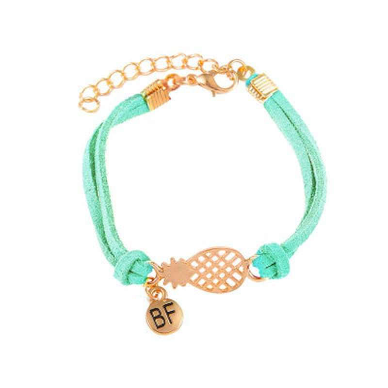 bracelet d'amitié ananas en cuir turquoise et or bf
