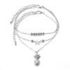 bracelet de cheville ananas en argent avec perles et étoile