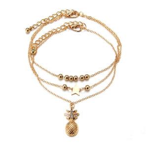 Chaine de cheville Ananas <br>Bracelet de cheville Or