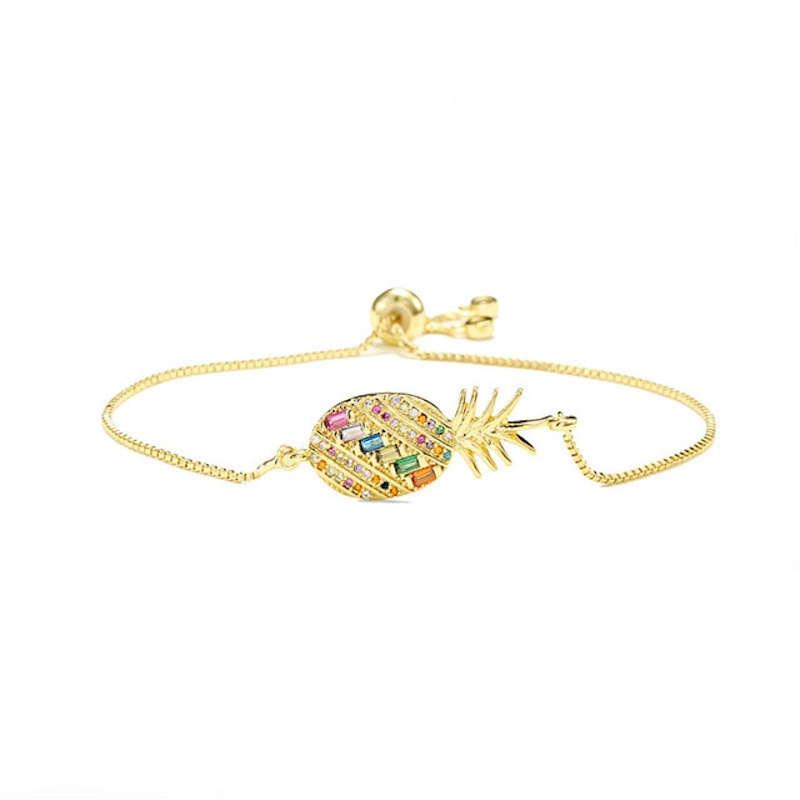bracelet fin ananas plaqué or avec pierres multicolores