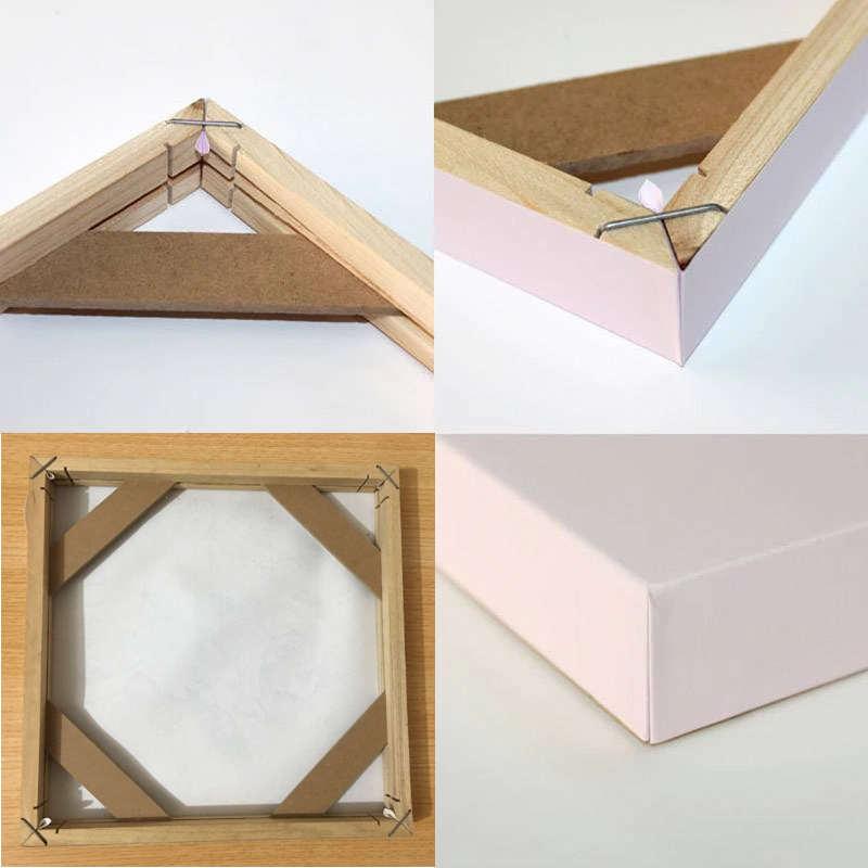 cadre en bois pour toile, détails des angles