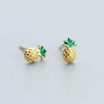 Boucles d'oreilles Ananas <br>Argent plaqué Or