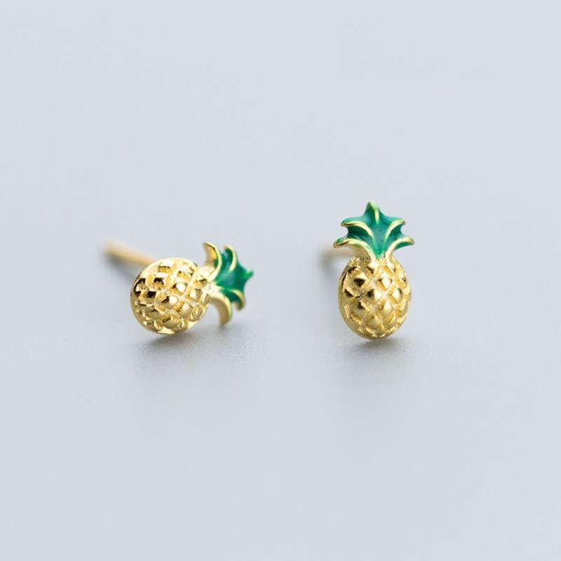 clous d' oreilles ananas en argent plaqué or vert et doré