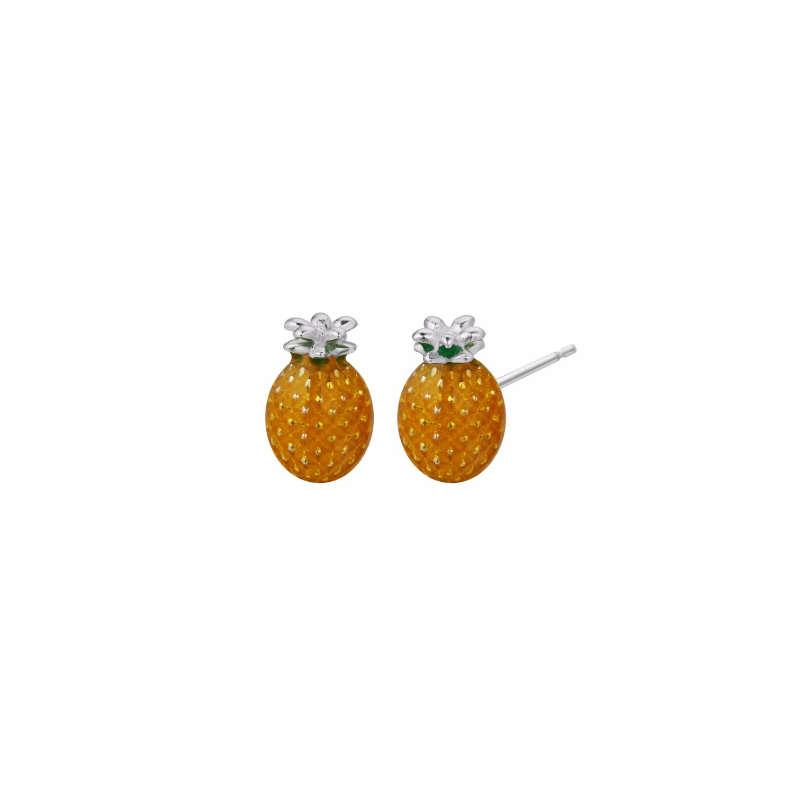 boucles (clous) d'oreilles ananas en 3D de forme ovoïde et de couleur orange en argent