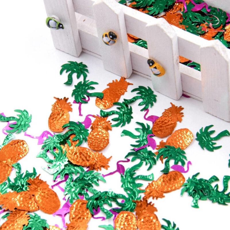 Confettis déco de table ananas et flamants roses en plastique
