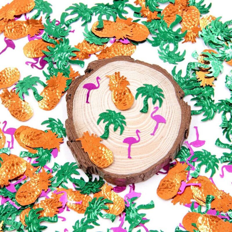 Confettis plastique déco de table ananas et flamants roses pour anniversaire mariage et fêtes