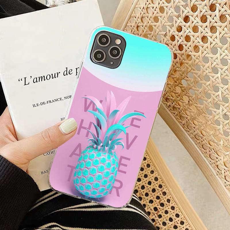 coque iphone ananas rose et bleu whatever