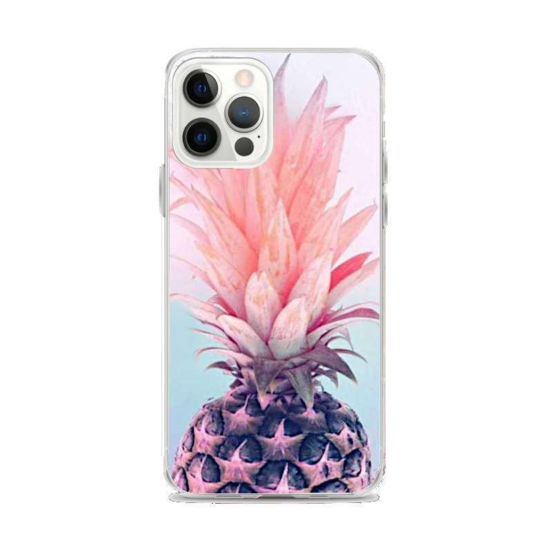 coque motif ananas iphone avec un demi ananas aux feuilles roses