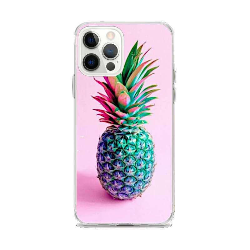 coque motif ananas pour iphone avec un fond rose et un ananas bleu