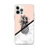 coque motif ananas pour iphone avec un fruit noir et un fond rose saumon et marbre