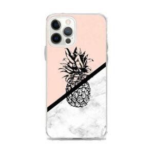 Coque iPhone Ananas Marbre et Saumon