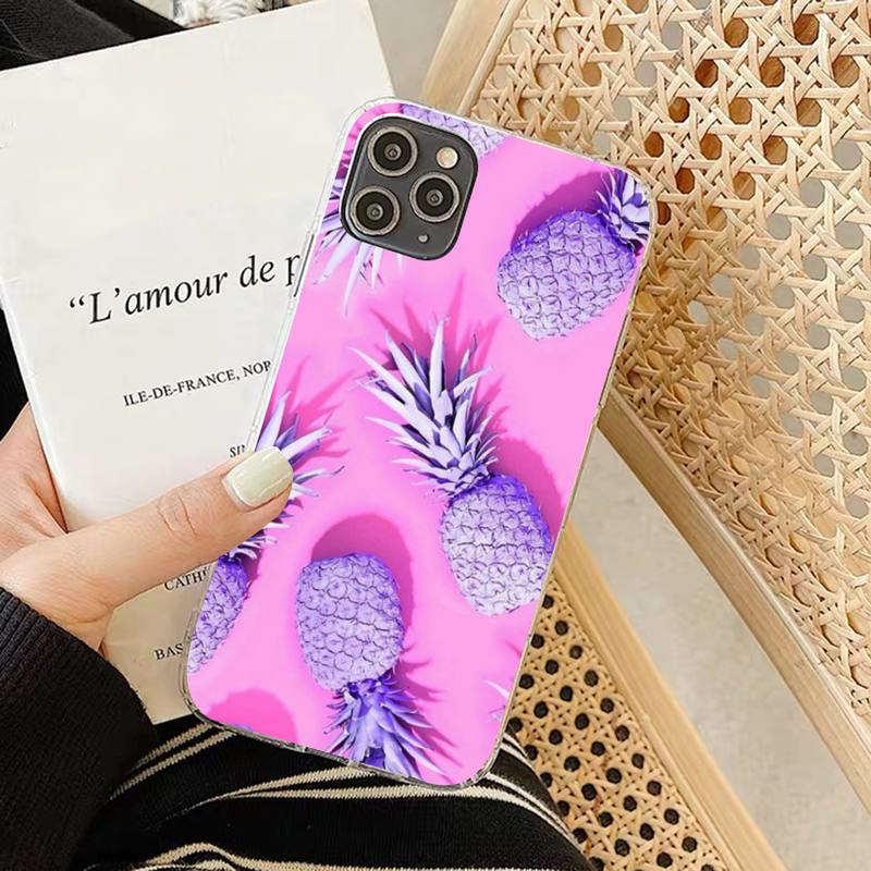 coque souple motif ananas pour iphone rose et mauve