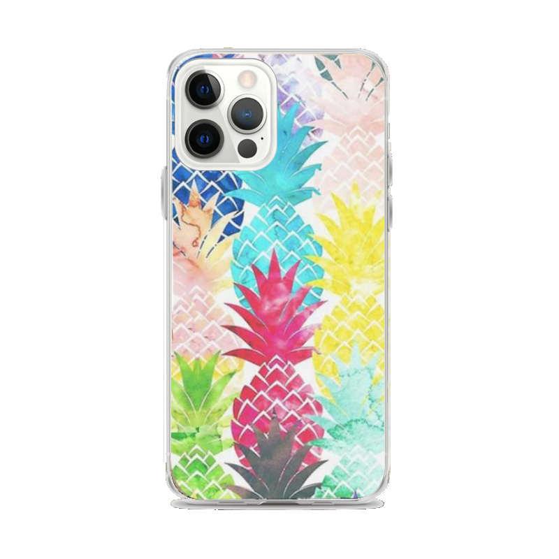 coque motif ananas pour iphone imprimée d'ananas de multiples couleurs, bleu, rouge, jaune, vert, gris, bleu clair