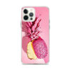 coque motif ananas pour iphone avec un ananas de couleur rose coupé en deux dans sa hauteur