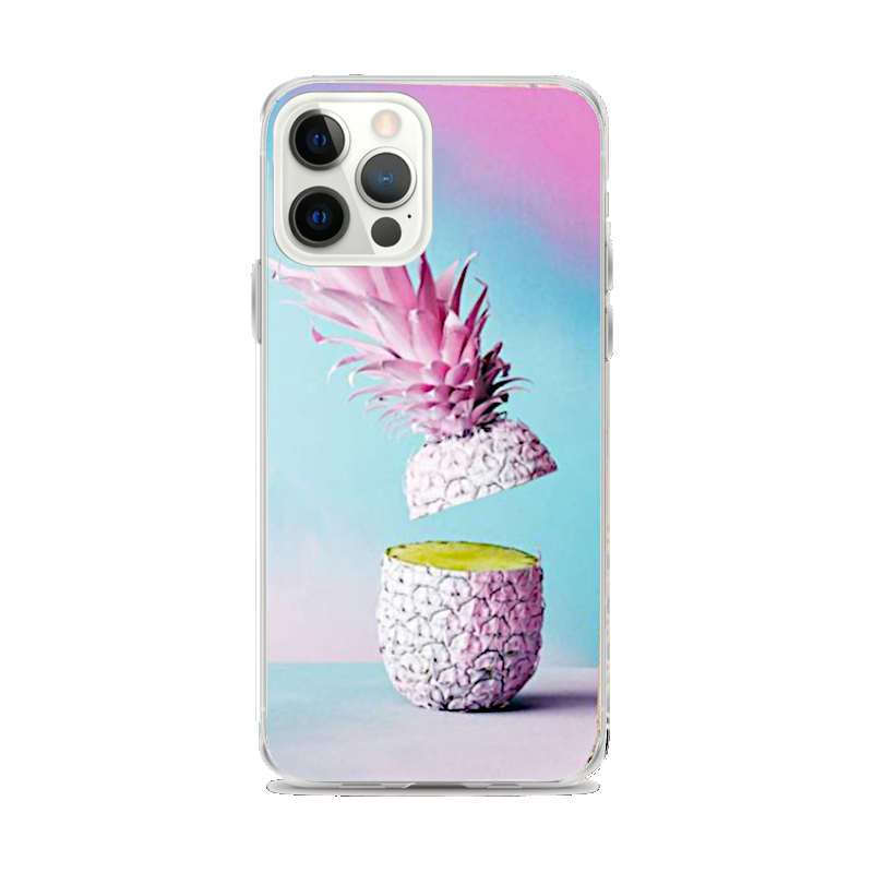 coque motif ananas pour iphone avec un ananas rose tranché en deux