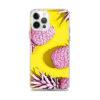 coque motif ananas pour iphone avec des ananas roses sur fond jaune