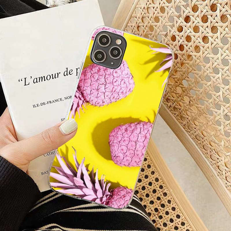 coque ananas tropicaux iphone rose et jaune