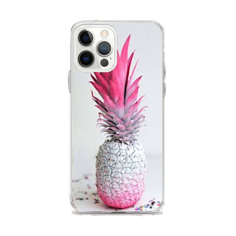 coque iphone avec motif ananas blanc peint partiellement en rose