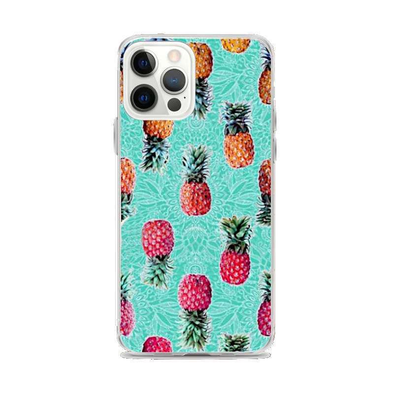 coque motifs ananas pour iphone avec plusieurs fruits exotiques sur fond bleu