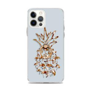 Coque iPhone Ananas et Flamants Roses Doré avec Anneau