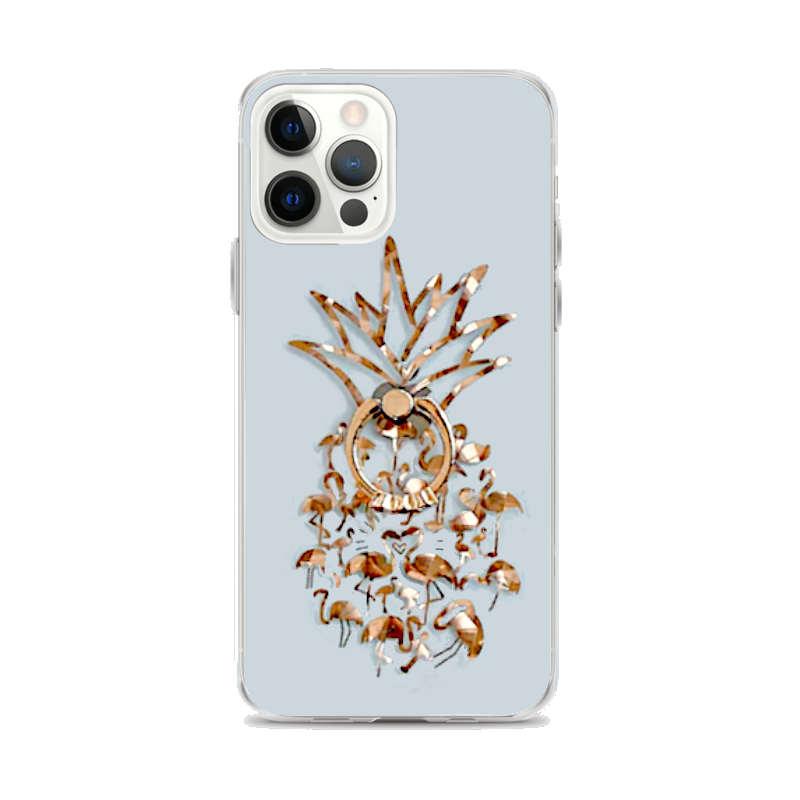 coque pour iphone motif ananas et flamants roses dorés avec anneau muni de pierre
