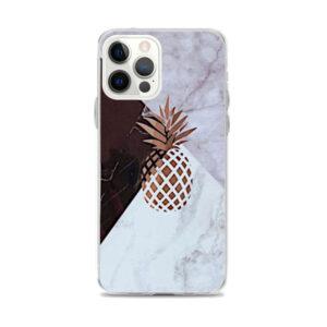 Coque iPhone Ananas Doré Marbre