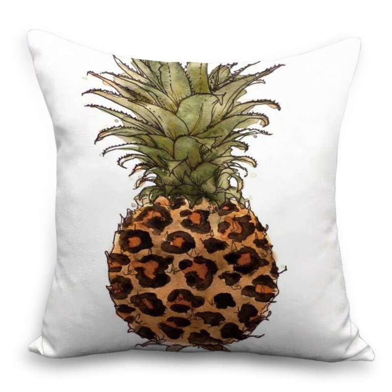 coussin ananas motif style peinture aquarelle