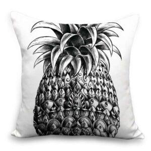Taie d'oreiller 45×45 Ananas Blanc et Noir