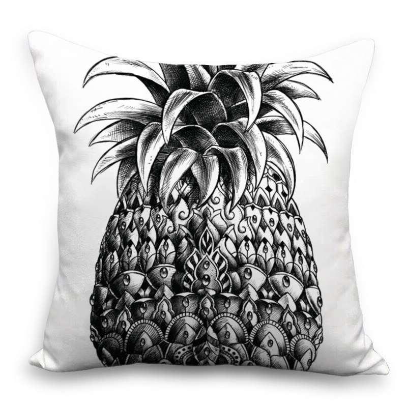 coussin ananas blanc et noir