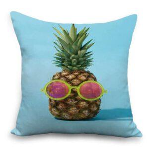Taie d'oreiller 45×45 Bleu Ananas à Lunettes