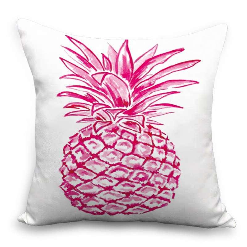 coussin avec motif ananas imprimé avec un dessin de fruit de couleur rose