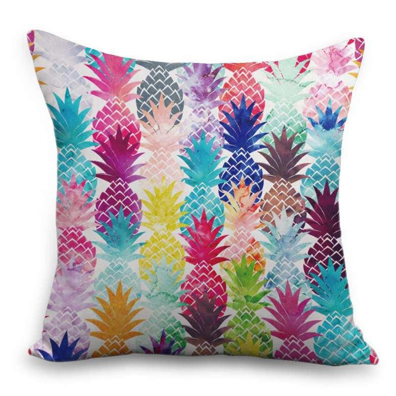 coussin imprimé de motifs ananas multicolores